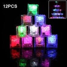 12pcs Ice Cubes Light Multicolor Decorative LED Liquid Sensor Glow Up for Bar Club Wedding Party Champagne