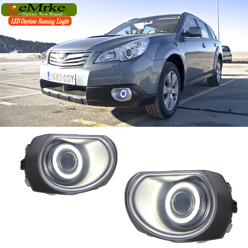 eeMrke LED Angel Eye DRL For Subaru Outback 2009-2014 BR Wagon Halogen Fog Light H11 55W Daytime Running Lights eemrke led daytime running lights for mitsubishi grandis cob angel eye drl halogen h11 55w fog light