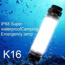 Waterproof Flashlight Camping Lantern Emergency Light Diving USB Rechargeable Portable 250LM IP68 Outdoor Hiking Sport K16