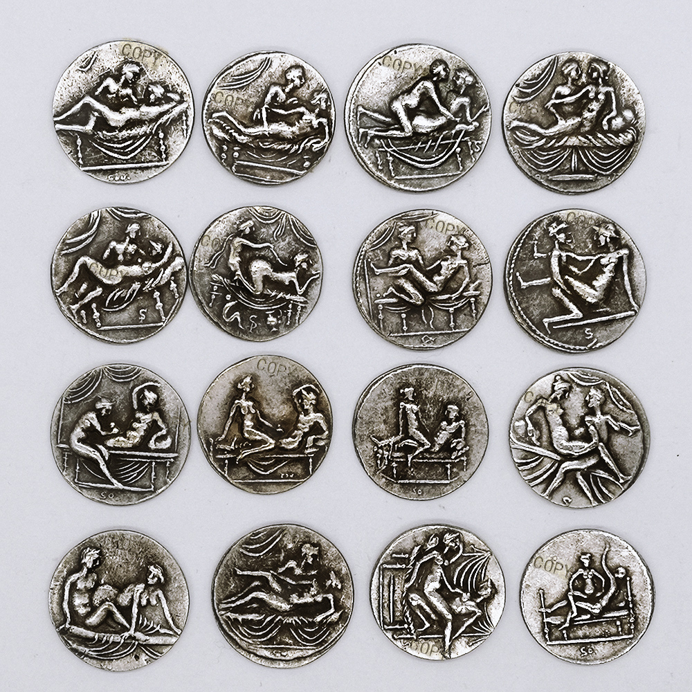16 Styles Greek Sex Coin Collectibles Craft Copy Coin Replica Birthday Roman Ancient Gifts Badge