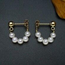 925 silver real natural big   mirror light natural pearl  earrings handmade DIY Korea elegance ear jewel