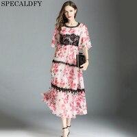 Printed Floral Chiffon Dress Summer Maxi Dress For Women Elegant Casual Long Dresses High Quality Women Fashion 2018 Robe Femme