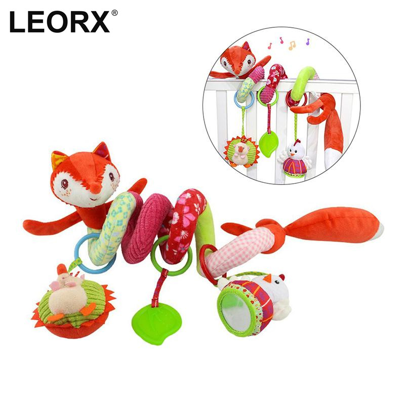 New Cute Cartoon Animal Fox Infant Baby Crib Revolves Bed Around Stroller Playing Toy Hanging Baby Rattles Teeth Glue Toys