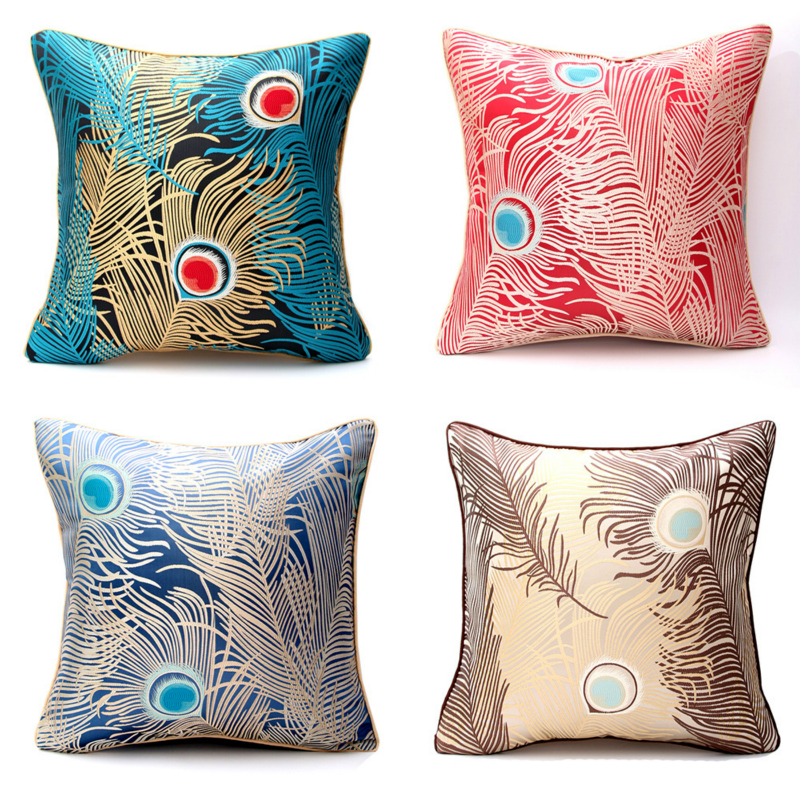 Modern Peacock Feather Pillow Case Simple Beat Cover Square Elegant Comfortable Cushion For Sofa Chair Car