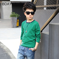 100% Cotton Long Sleeves Round Neck Boys Knitted Stripes Casual T-Shirt 2017Children'S Clothing New Spring Boy Bottoming T-Shirt