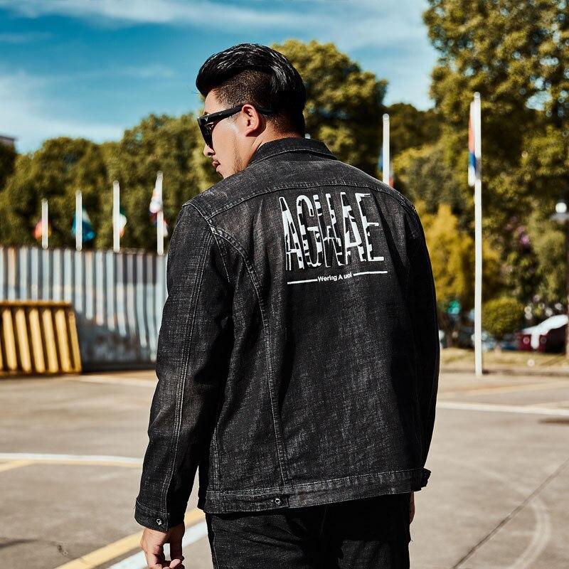 Noir 3D lettre broderie Jeans veste hommes 100% coton doux Denim manteaux mâle Chaqueta Hombre grande taille vestes 4XL 5XL 6XL nouveau