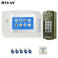 JERUAN 7 INCH TFT Video Intercom Door Phone System kit Metal waterproof password HD Mini Camera +3 TOUCH SCREEN White Monitor