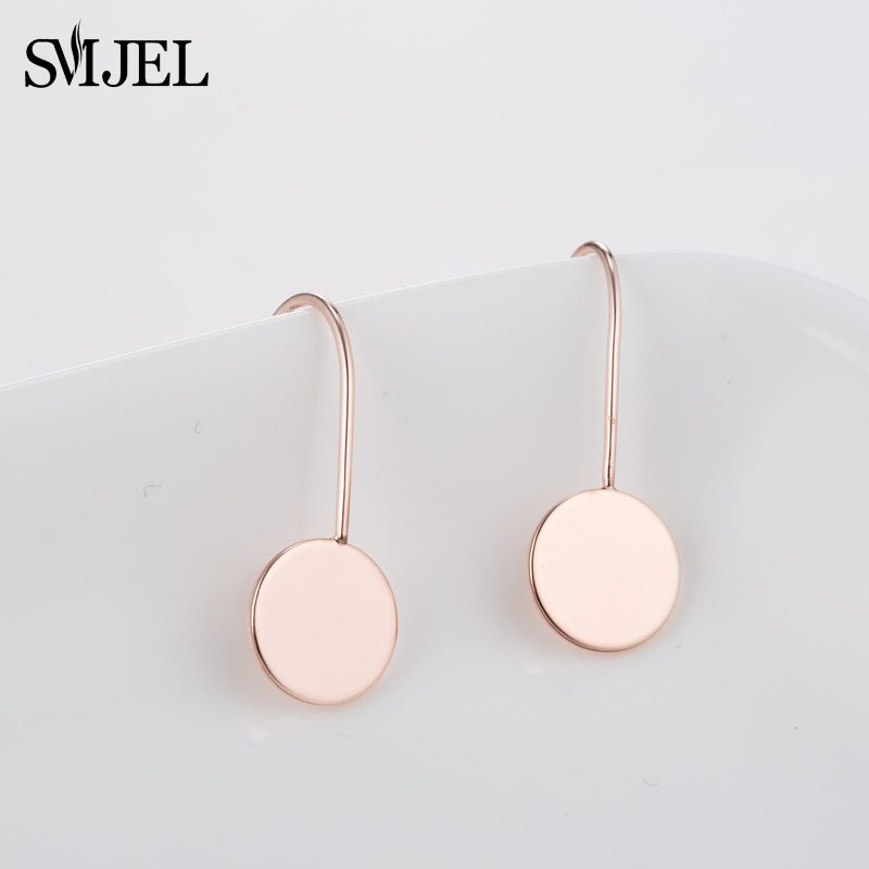 SMJEL New Simple Circle Earrings Long Women Ladies Gold Geometric Round Drop Earrings Circle Jewelry Korean Style Gifts Brincos