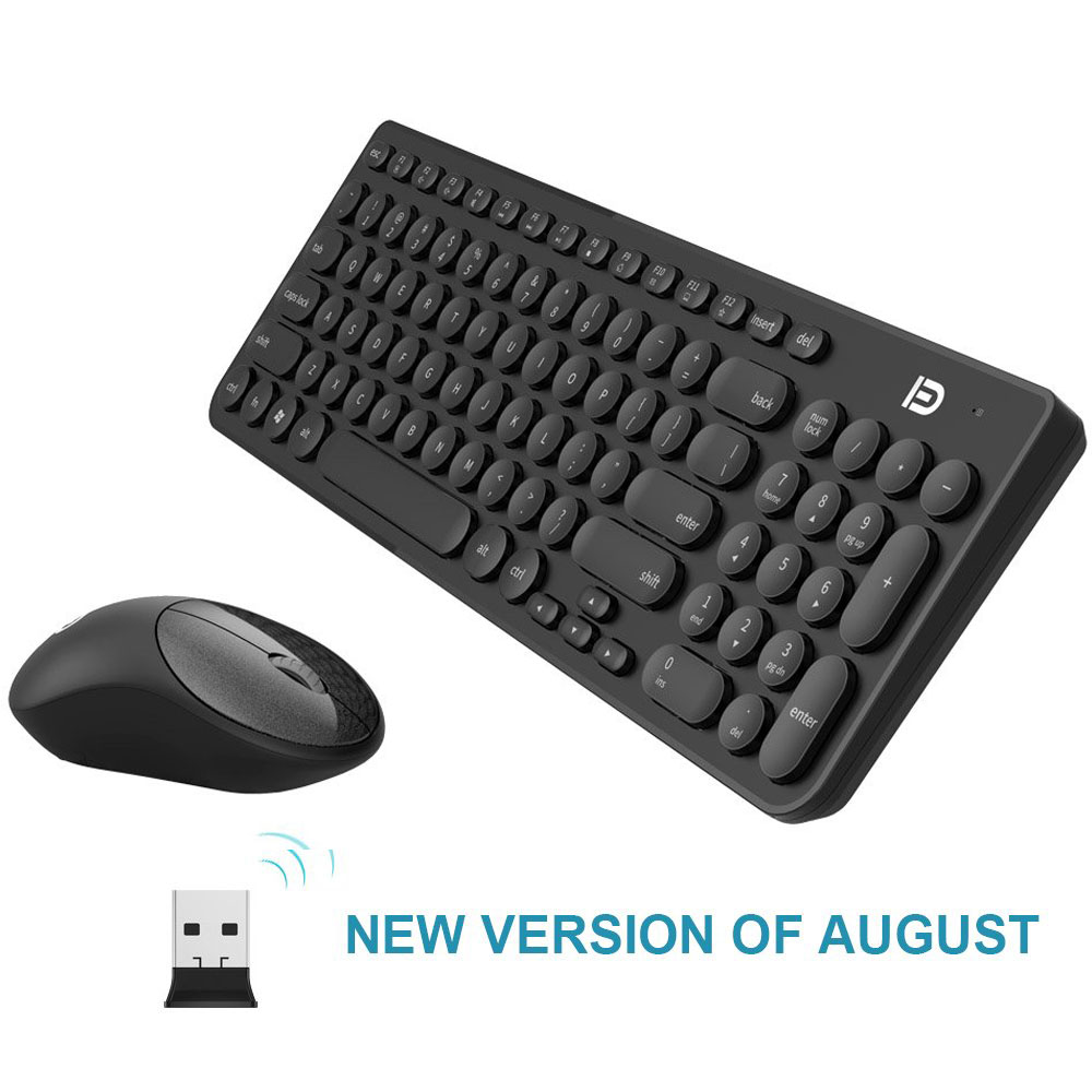 Quiet Wireless Keyboard Mouse Combo 2.4GHz Cordless Cute Round Key Set Smart Power-Saving Whisper For Laptop, Computer And Mac image