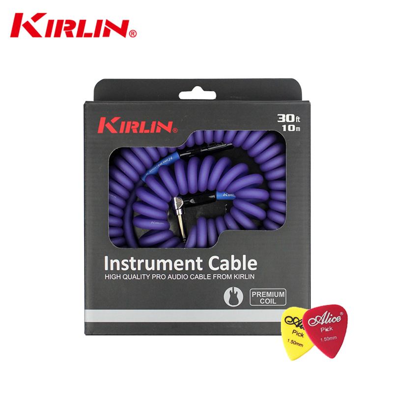 High Quality Kirlin 10M PRO Audio Cable Premium Coil Instrument Cable Electric Guitar /Bass Line Instrument Cable Line Copper high quality kl audio 12 channel 8 x 4 channel 50 pro audio low profile stage box snake cable 8x4x50