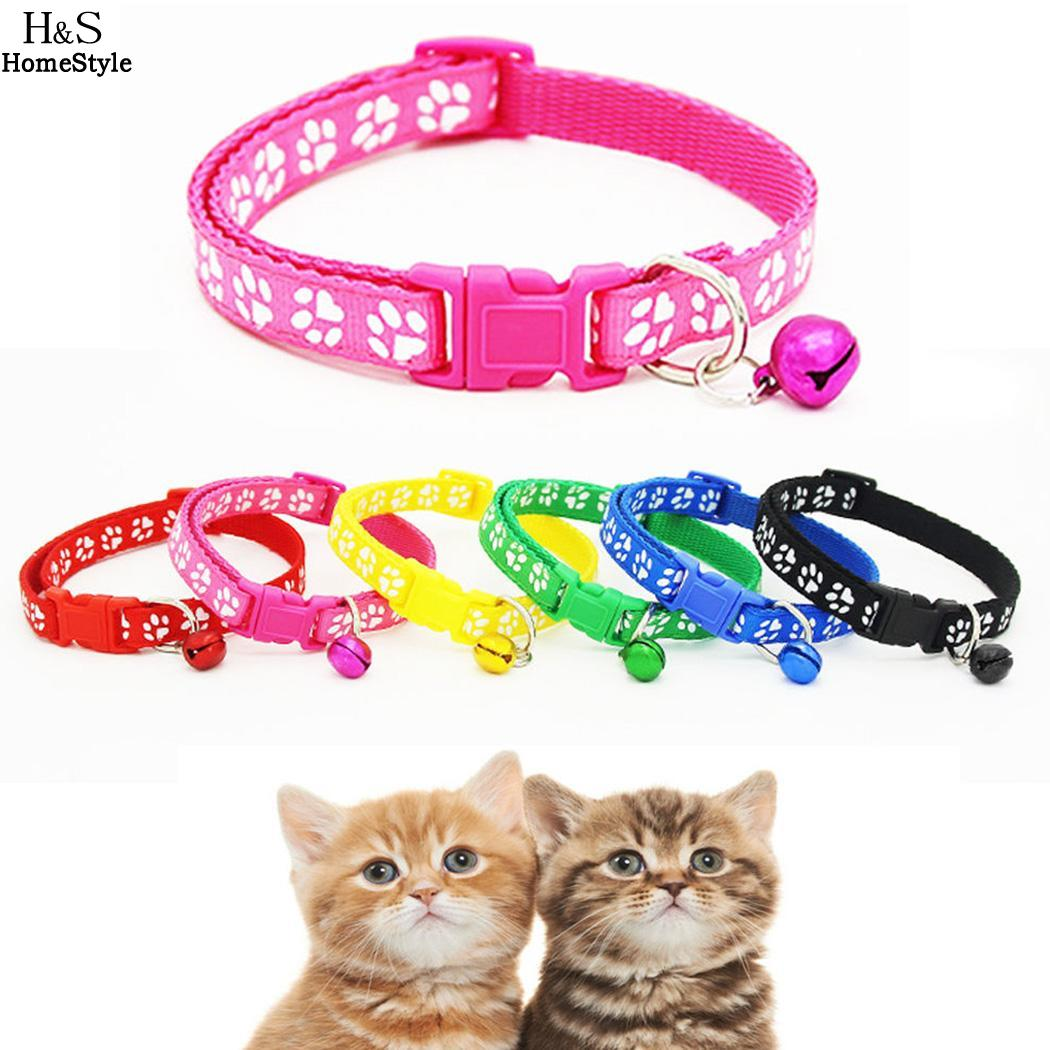 Cat Bell Footprint Collar Nylon Safety Adjustable Collars Pet Dog Leash With