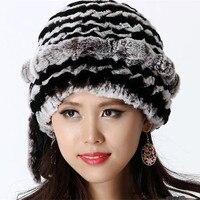 Autumn Handmade Women's Natural Knitted Rex Rabbit Fur Hats Winter Women Fur Caps Lady Beanies VK1143