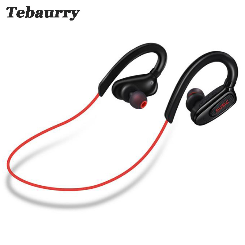 Tebaurry Sweatproof Sport Bluetooth Earphone Stereo Headset Bass Wireless Bluetooth Headphone for iphone Xiaomi phone wireless bluetooth headphone bass stereo headset game sport earphone with microphone support tf card for iphone 7 samsung xiaomi