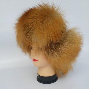 Image 4 - חם גבוהה סוף יוקרה פרווה כובע גברים של שועל פרווה כובע ליי פנג כובע אוזן כובע פרווה הכרחי כובע אמיתי פרווה כובע 100% כבש למעלה שועל כובע