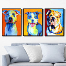 CHENFART Animal Poster Colorful Dog picture Canvas Oil Paintings for Living Room Wall Pop Art Posters and Prints Home Decor