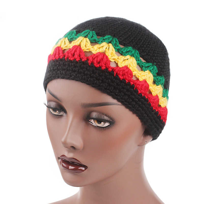 d978768e968 ... Winfox Fashion Male Knitted Crochet Jamaican Rasta Hat Dreadlocks Winter  Warm Wool Beanies Hats For Women ...
