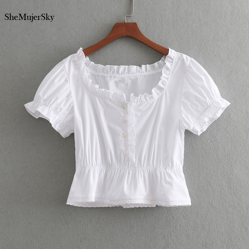 SheMujerSky White Ruffles Blouse Elegant Short Sleeve Blouses With Button 2018 Womens Shirt Elastic Waist Tops Blusa