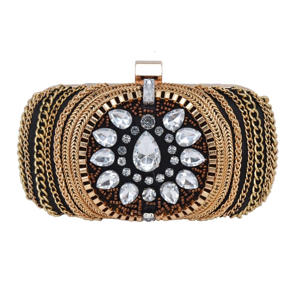 Moda de Lujo de Oro de Diamante Fiesta de Noche Bolsa Embragues Retro Vintage Ca