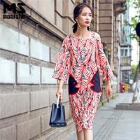 Mooishe Summer Geometry Off Shoulder Women Midi Dress Flare Sleeve Fish Embroidery Slim Elegant Vintage Pencil