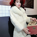 Recién Llegado de Largo Genuine Fox Cuello de Piel Abrigo de Piel de Conejo para mujer ropa de abrigo abrigos de pieles Reales Más El Tamaño de Invierno chaqueta