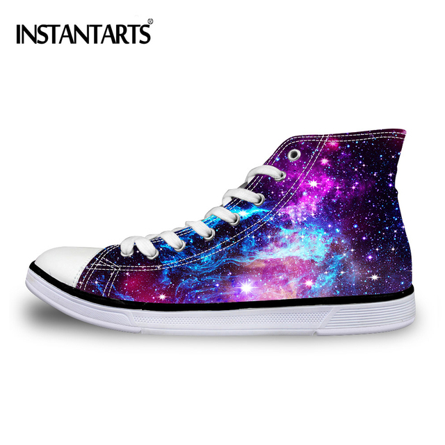 INSTANTARTS Casual High Top Vulcanized Shoes Woman Fashion Universe Superstar Galaxy Women Lace-up Canvas Shoes Zapatos Mujer