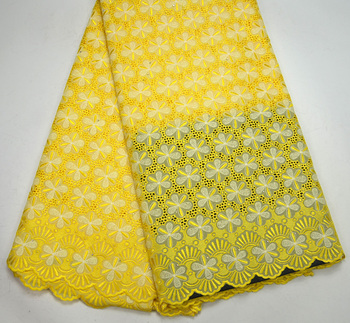 high quality Latest Swiss Design Excellent Yellow Swiss Voile lace fabrics For Men Tradtional wedding lace fabrics