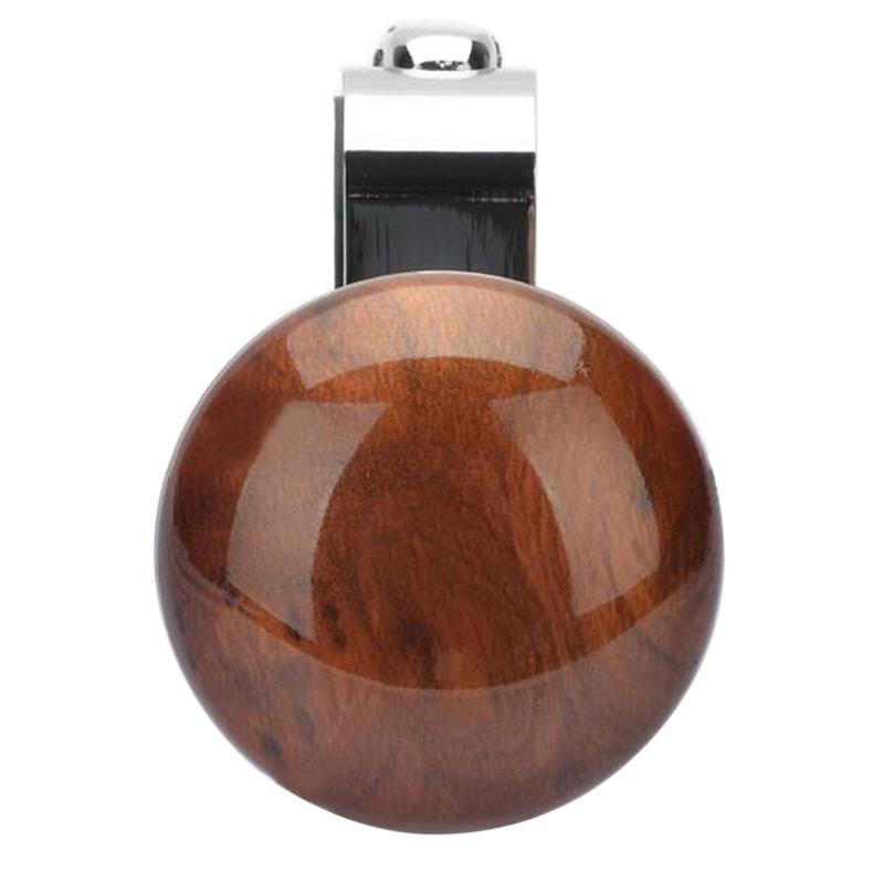 Metal Steering Wheel Assistive Ball Power Booster Ball Spinner Steering Wheel Knob for Car Vehicle (Peach Wood Color)