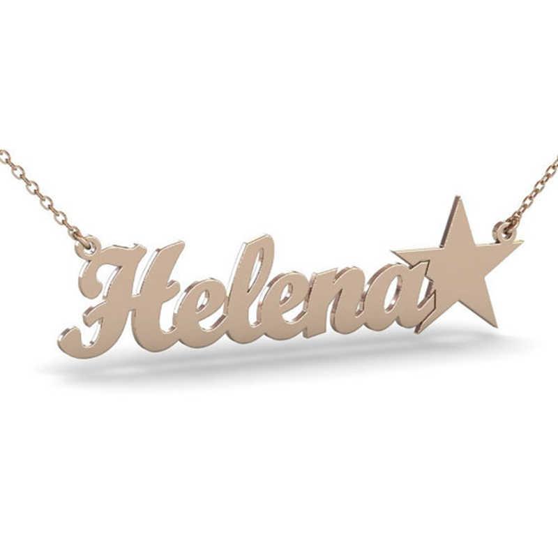 Wykonane na zamówienie angielska nazwa wisiorek naszyjniki z gwiazdą spersonalizowany podpis tabliczka znamionowa kobiety mężczyźni biżuteria ze stali nierdzewnej łańcuch