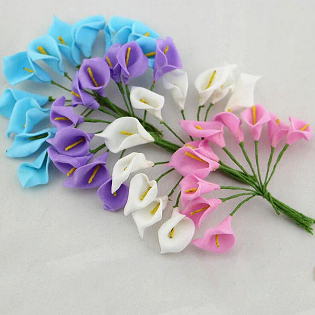 Мини пена Калла Handmake искусственные букет Свадебные украшения DIY ВЕНОК подарочной коробке Скрапбукинг Craft поддельный цветок 12 шт.