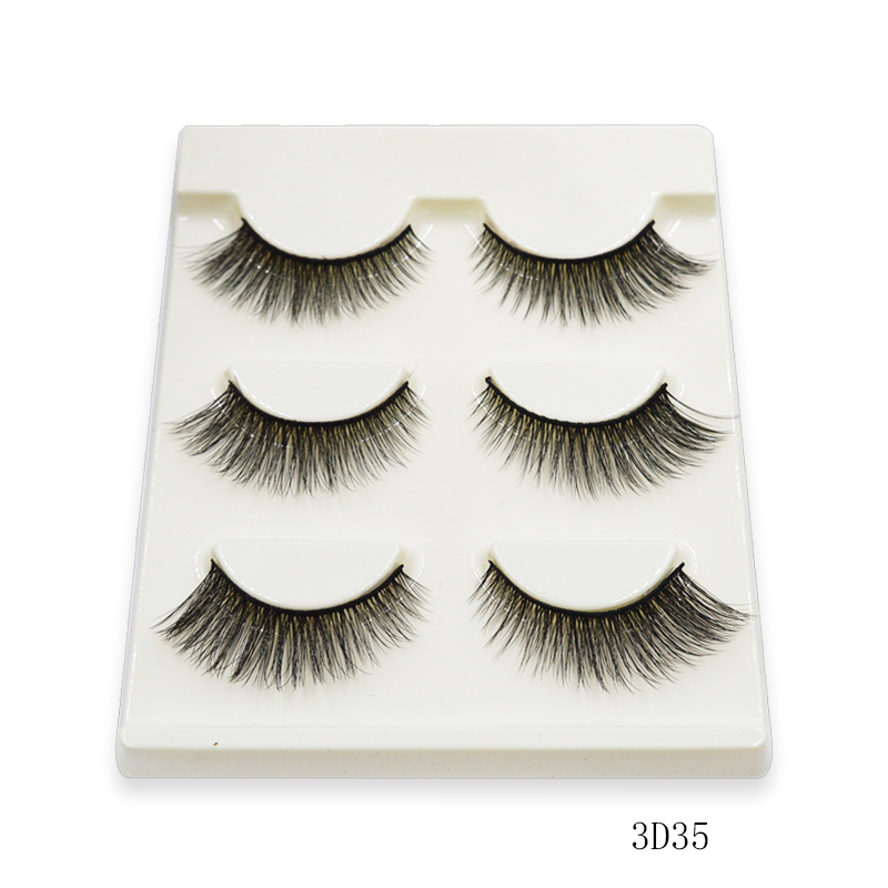 3 Pairs Natural False Eyelashes Fake Lashes Long Makeup 3d Mink Lashes Eyelash Extension Mink Eyelashes For Beauty 3D35