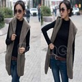 1pc Faux Lamb Fur Hoodie Long Vest Sleeveless Jacket Waistcoat Women Outerwear Coat WY2703