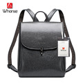 [WHORSE] Brand Logo High Quality Cow Genuine Leather Backpacks For Women Big Capacity School Bag Casual Style With Lock WA70786