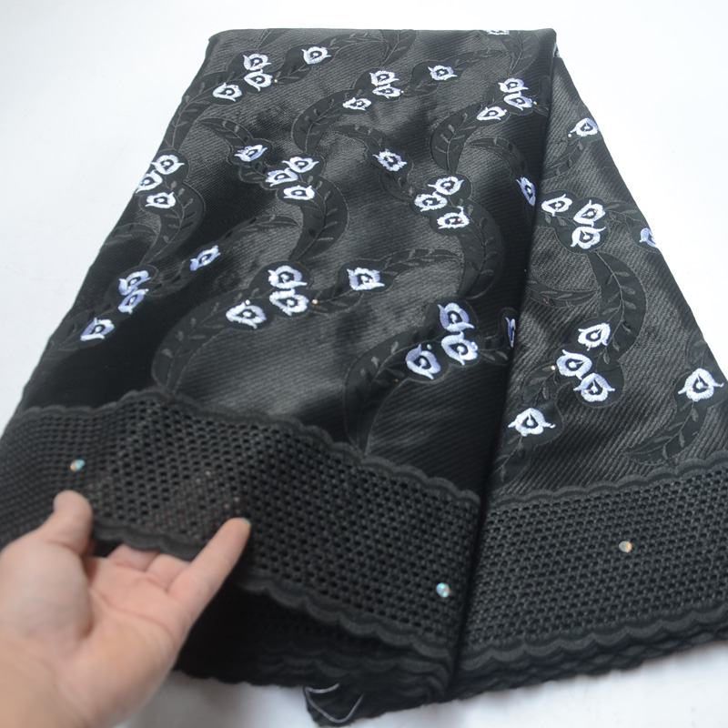 5yards pc Black African cotton lace fabric with small white flowers embroidery latest Swiss voile