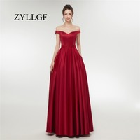 ZYLLGF Long Burgundy Bridesmaid Dresses A line Off The Shoulder Beaded Satin Bridesmaid Gown Robe Demoiselle D'honneur ES4