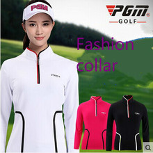 PGM spring and autumn Women golf apparel ladies sports Stand-up collar long-sleeved T-shirt Slim stretch breathable Golf Shirts 2019men slim plain long sleeved fashionable stand up collar shirt and shirt