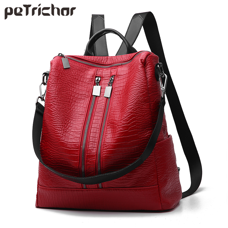 New Multi-functional Women Backpack & Shoulder Bag Synthetic Leather Large Capacity Fashion Ladies Red School Bag Female Purse aliwilliam 2017 new backpack female wild retro embroidery tide ladies backpack multi functional package college style female bag