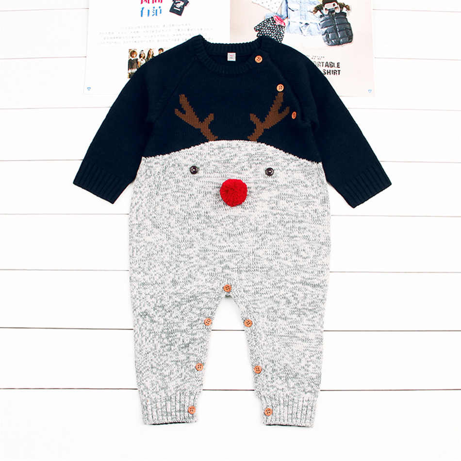 2018 New baby girl clothes soft Knitted Rompers kids one pieces Jumpsuits Pajamas 6-24M 3D Nose Cartoon Deer Infant costumes