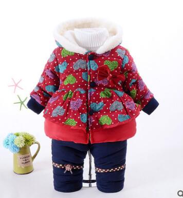 NEW Baby Set 2015 Winter BABY Girl clothes Thick Warm dot Coat+Pants Warm Winter Outerwear cotton Jacket  kids Clothing Sets children winter coats jacket baby boys warm outerwear thickening outdoors kids snow proof coat parkas cotton padded clothes
