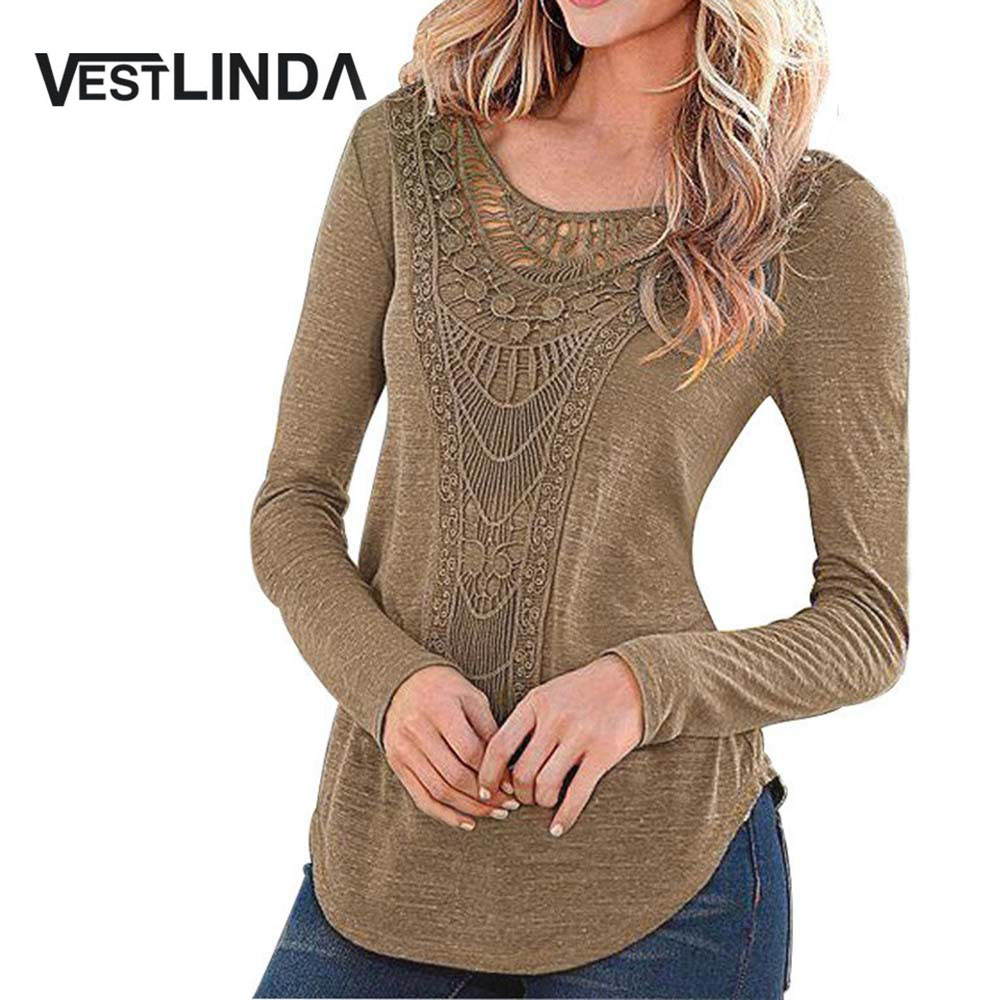 VESTLINDA Vintage Ethnic Boho Blouses Sexy Female Crochet Blouse Shirt Women Embroidered Long Sleeve Tops Blusas Women Clothes