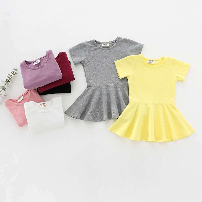 Hot Top Summer Girls Soft Cotton Solid Dress Casual Ruffles O-Neck Clothes Cute Short Sleeve Dresses For Princess Girl Party cute summer lace dress infant baby girls princess dress kid girl party wedding cotton short sleeve white a line dresses clothes