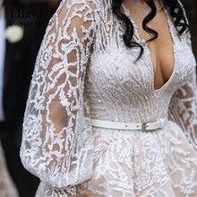 رداء دي ماريج 2020 فاخر مطرز بالخرز الدانتيل فستان بأكمام طويلة الدانتيل يزين ثوب الزفاف Vestido Novia