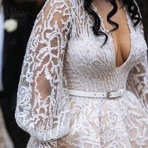 Image 1 - גלימות De Mariage 2020 יוקרה ואגלי תחרה חתונה שמלה ארוך שרוולי תחרת אפליקציות כלה שמלת חתונת שמלת Vestido Novia