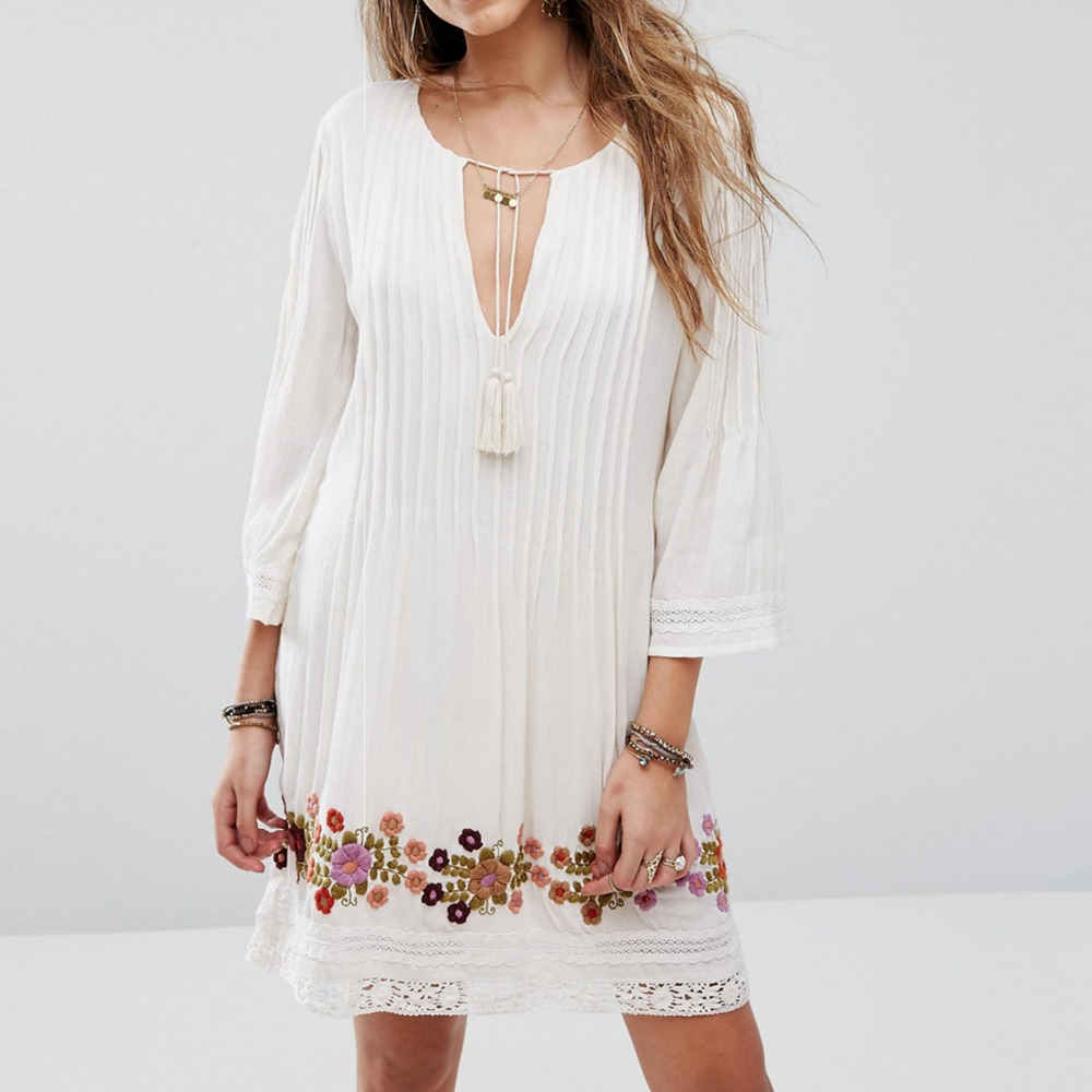 White Flower Embroidery Mini Dress Cotton Summer Tassels Tie In Fronts V Neck Pleated Crochet Boho