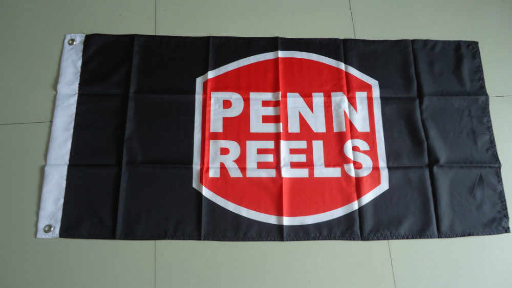 free shipping penn reels flag, corpenn reels banner,90X150CM size,100% polyster