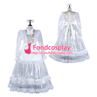 Sissy maid clear pvc dress lockable Uniform cosplay costume Tailor made[G2305]