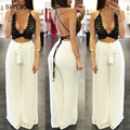 2016 Sexy Deep V neck Women Jumpsuit Summer Two Pieces Set Lace Backless Crop Top Long Loose Pants Beach Party Bodycon Playsuit