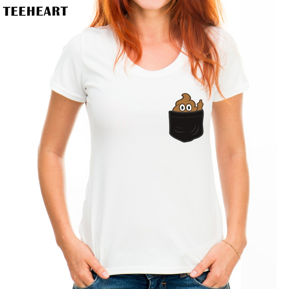 Design t shirt for cheap - Teeheart Women Pocket Poop Emoji Finger Design T Shirt Novelty Tops Lady Custom Printed Short Sleeve