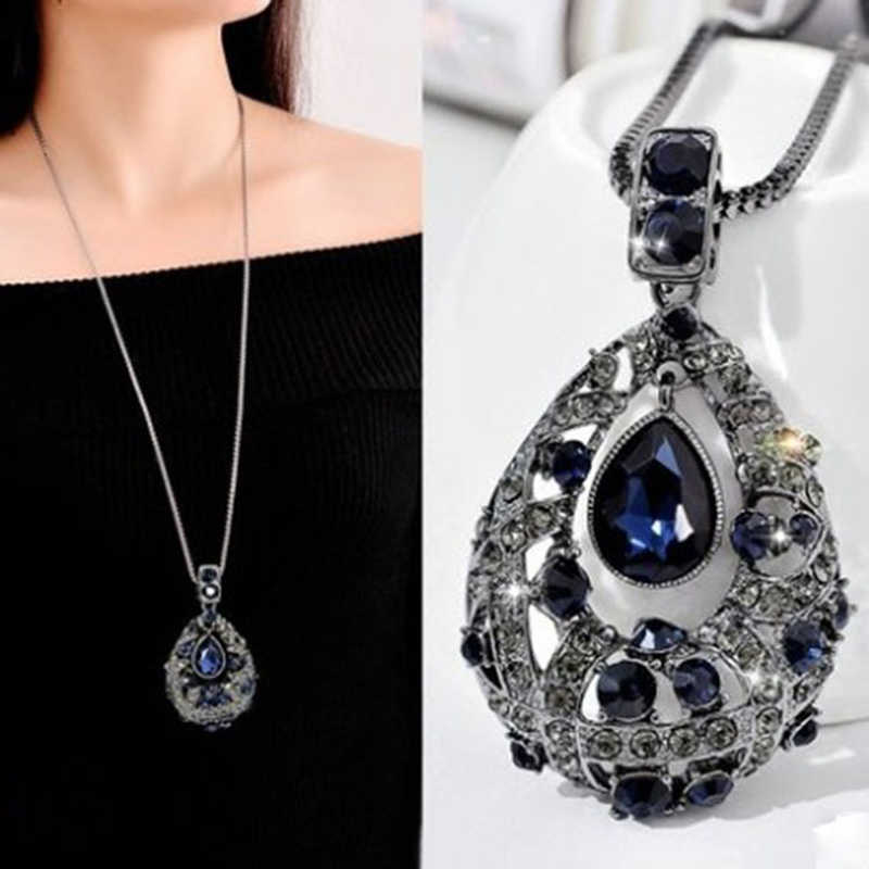 F&U Vintage Crystal Waterdrop Pendant Long Necklace  Female Winter Sweater Chain All-match Accessories Fine For Woman