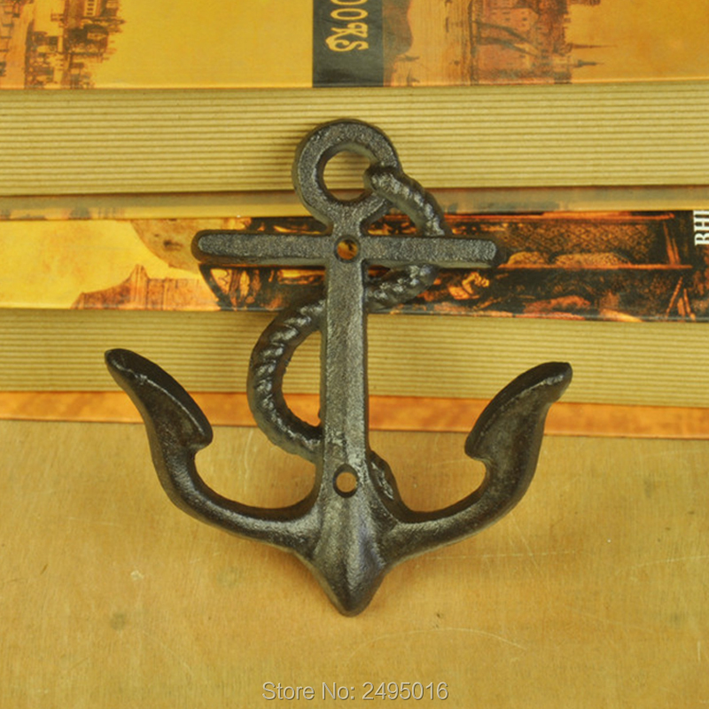 Hampton Nautical Rustic Decorative Cast Iron Anchor Wall Hook Rustic ...