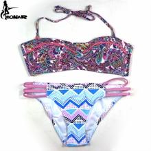 купить 2015 Push Up Bikinis New Stylish Lady Women's Fashion Push-Up Sexy Bikini Set Print Swimwear  Bandage Swimsuit дешево
